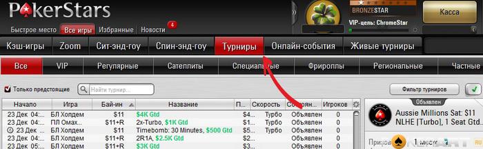 Турниры на ПокерСтарс