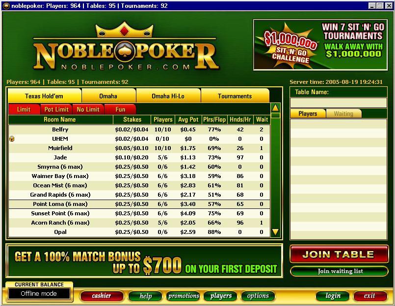 Noble Poker lobby